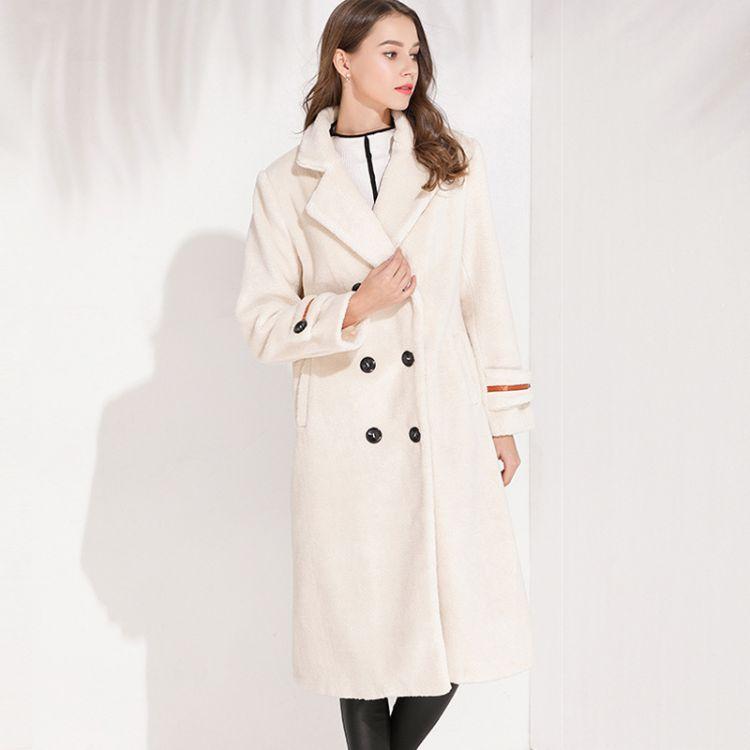 欧美女装2018冬季新品张钧甯同款长款休闲羊羔毛大衣修身外套女