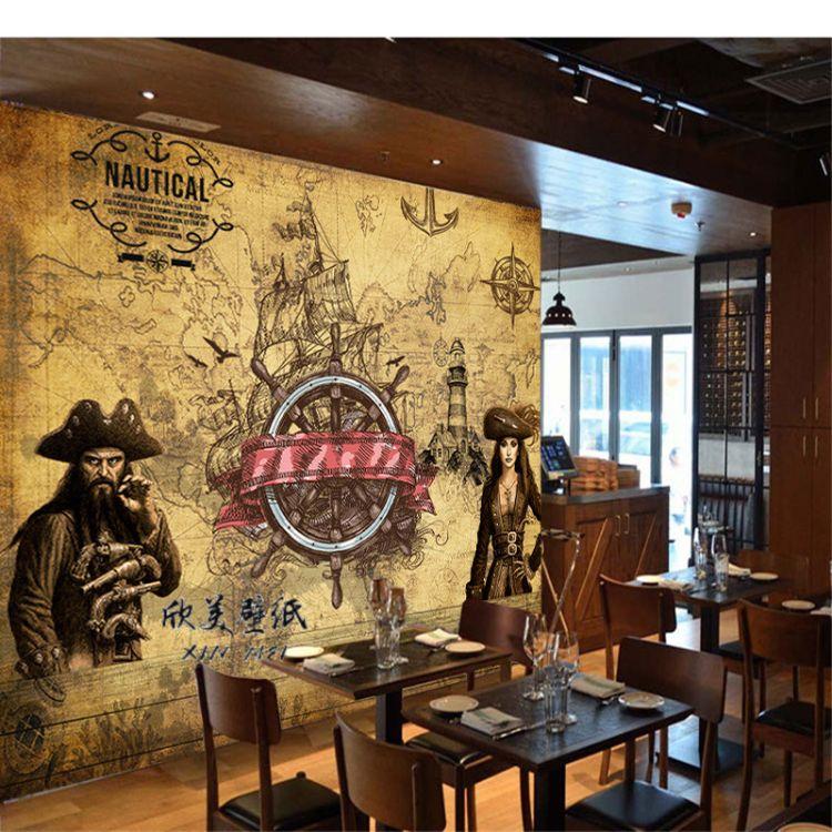 个性定制加勒比海盗大型壁画餐厅酒吧KTV主题休闲站网吧墙纸壁纸