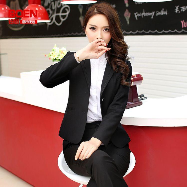 职业装女外套双扣小西装经理工作服女西服套装加大码女装修身新款