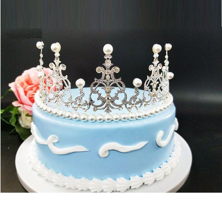新娘皇冠批发女夏季热卖铁皮款BABY同款珍珠皇冠蛋糕装饰摆件皇冠