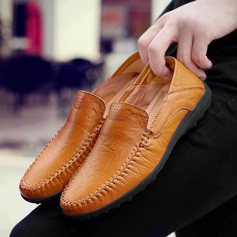 新款真皮休闲鞋男秋季豆豆鞋男时尚男鞋懒人户外休闲鞋子一件代发