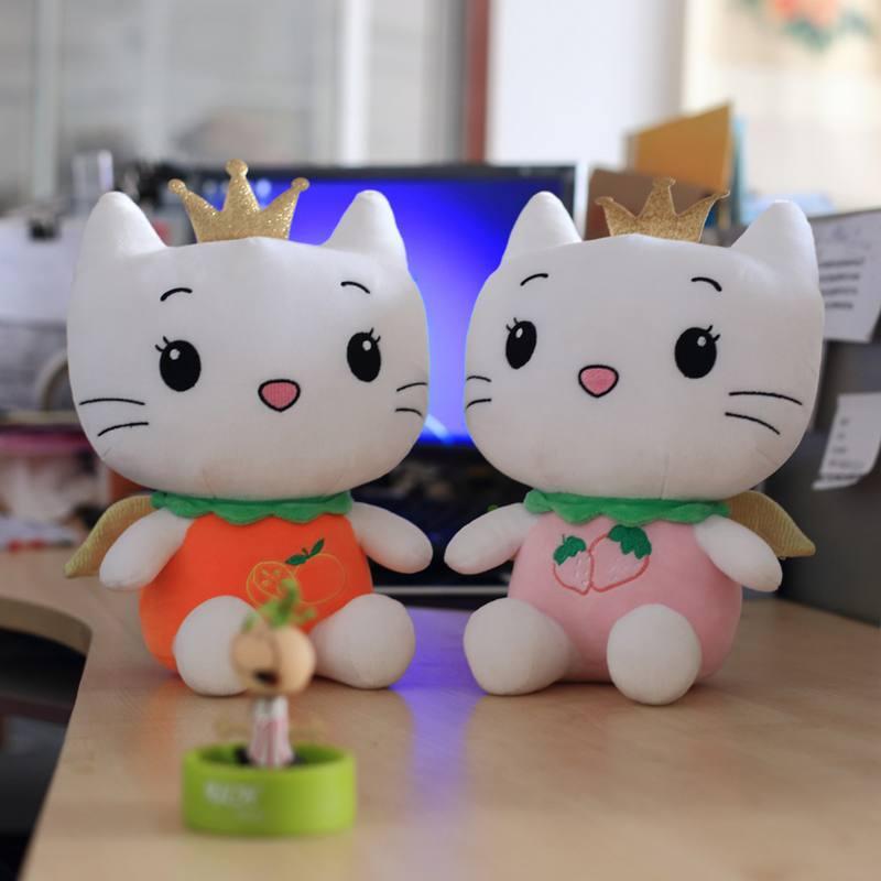 新款毛绒玩具公仔天使猫 小皇冠多色小猫 厂家直销毛绒玩具批发