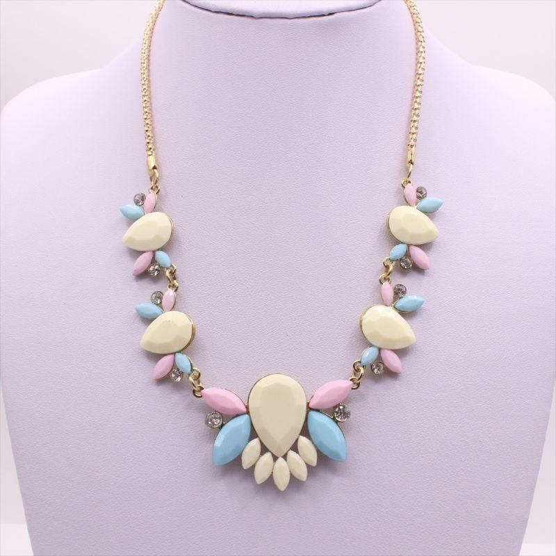 时尚欧美项链饰品小清新优雅花朵水滴项链短款甜美宝石花朵锁骨链