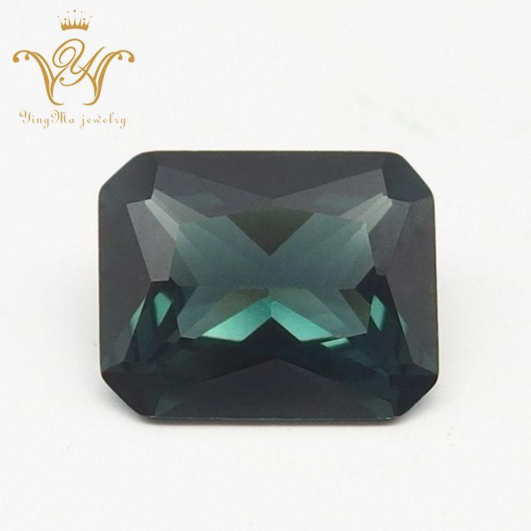 厂家直销梧州宝石 152#长方形倒角尖晶 绿尖晶裸石