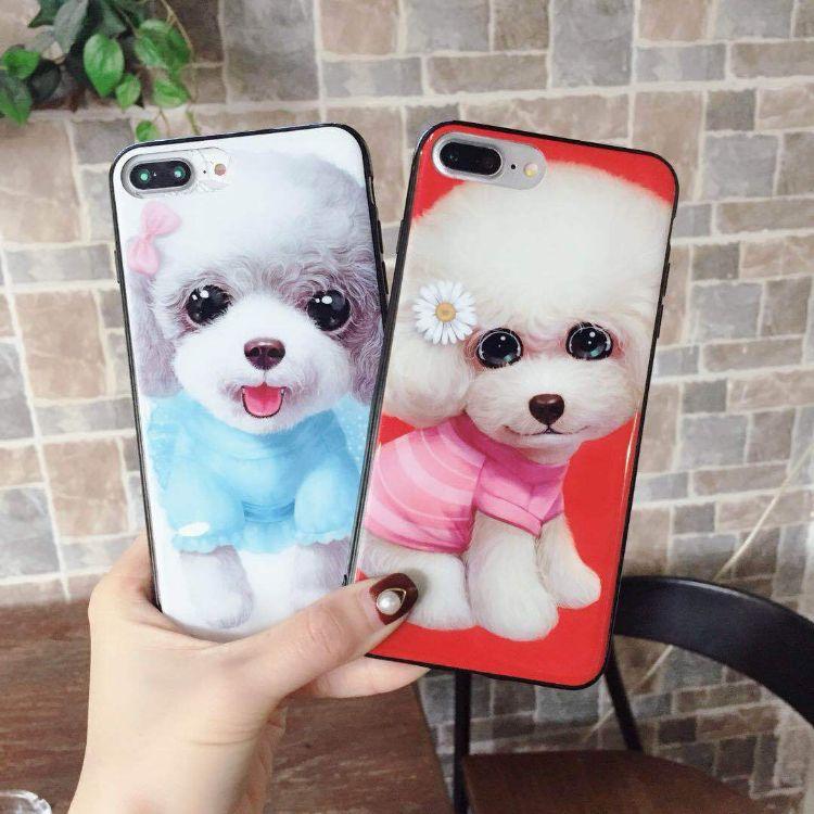 狗狗iphonexsmax手机壳 苹果7/8plus/6S烤瓷光面防摔贵宾犬保护套