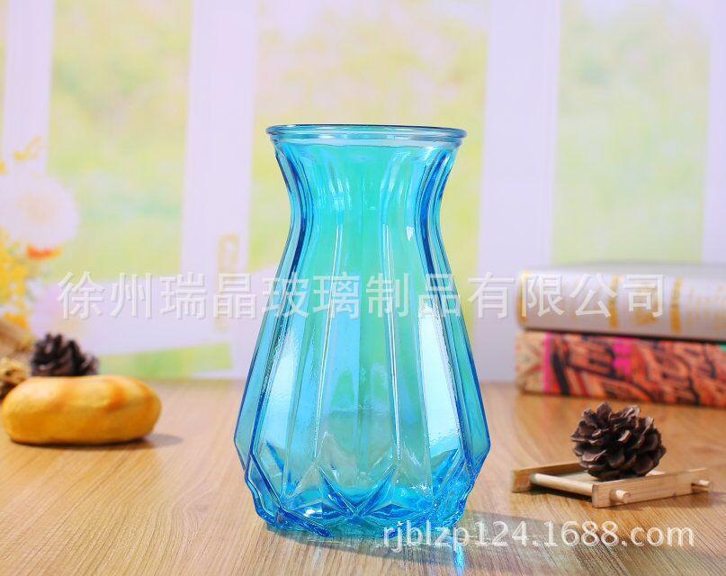现代简约玻璃花瓶透明玻璃瓶彩色玻璃花瓶摆件家居水培插花瓶批发