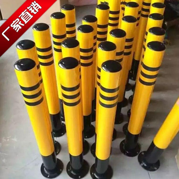 钢铁带环警示柱 路障停车地桩钢管固定分道隔离桩防撞护栏铁立柱