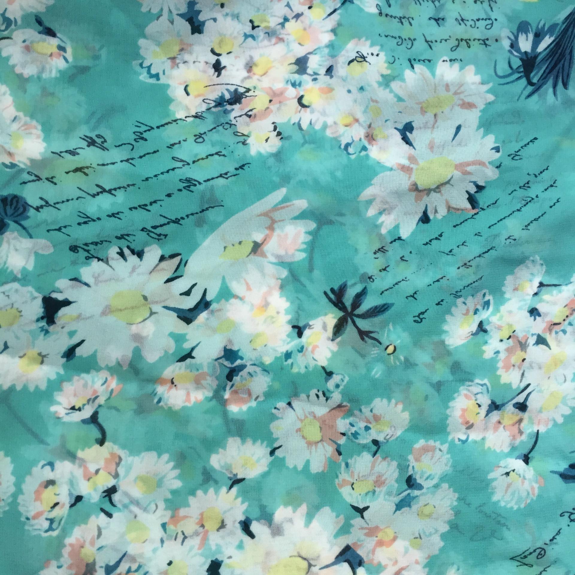 绒雪纺碎花系列――太阳花+英文 蓝绿为主色调,轻柔舒滑