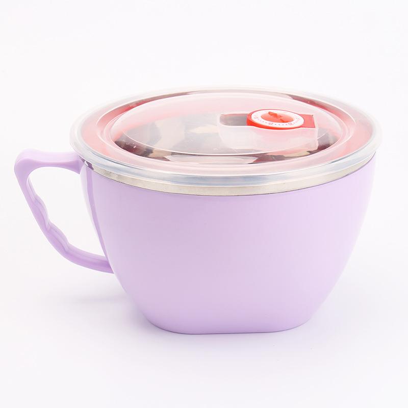 304不锈钢泡面碗 带盖大号碗 学生便当盒方便面碗带柄防烫大容量