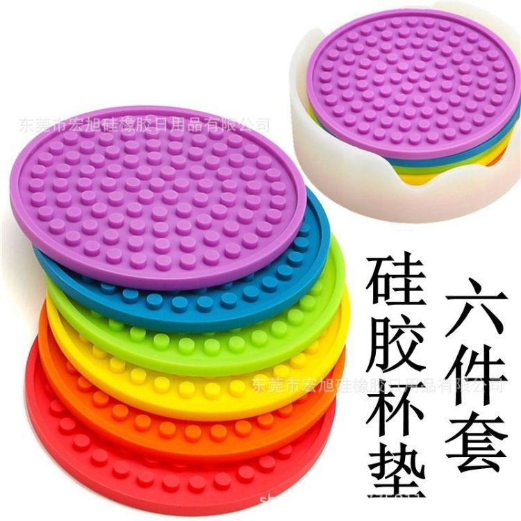 亚马逊硅胶杯垫套装6件套圆形环保杯垫无毒隔垫防滑垫