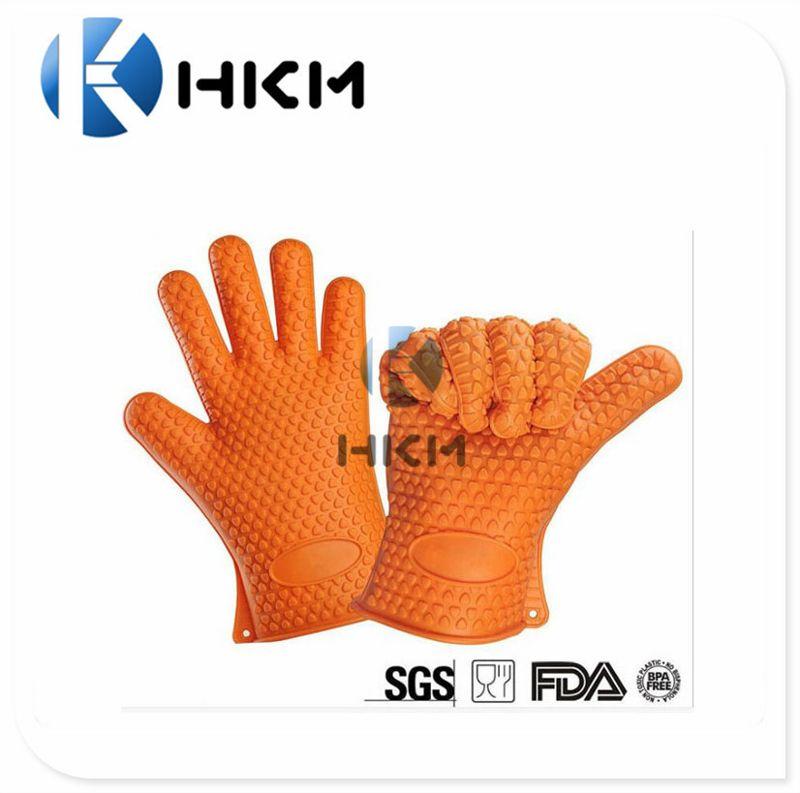 耐高温隔热硅胶五指手套 环保微波炉手套 防滑防烫加厚厨房手套