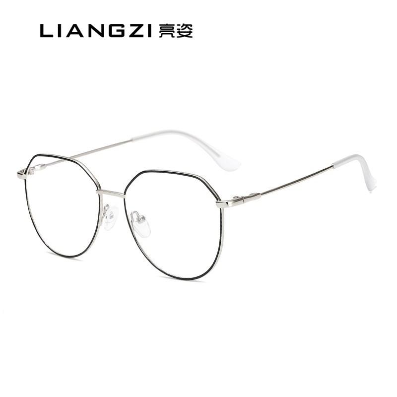 新款多邊形文藝個性女士防藍光輻射平光鏡金屬眼鏡近視框網紅同款