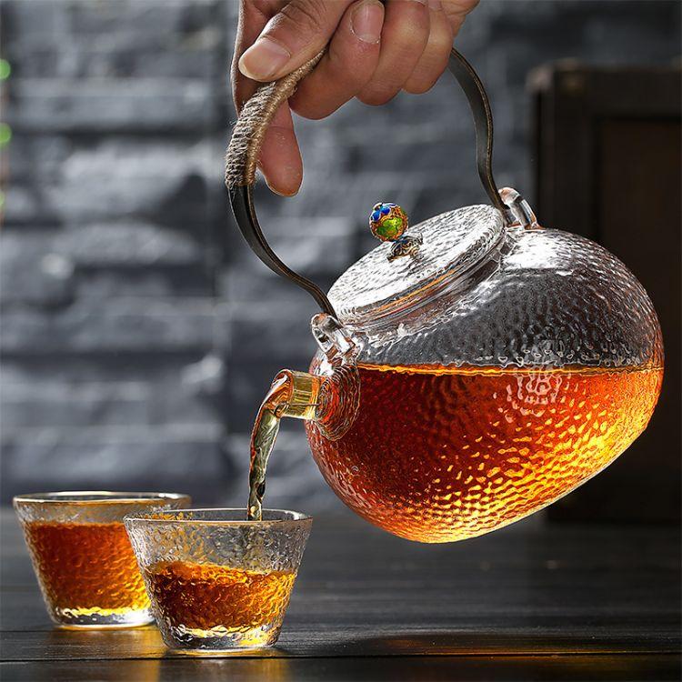 日式手工玻璃提梁壶 锤目纹煮茶壶 玻璃烧水壶 可明火加热