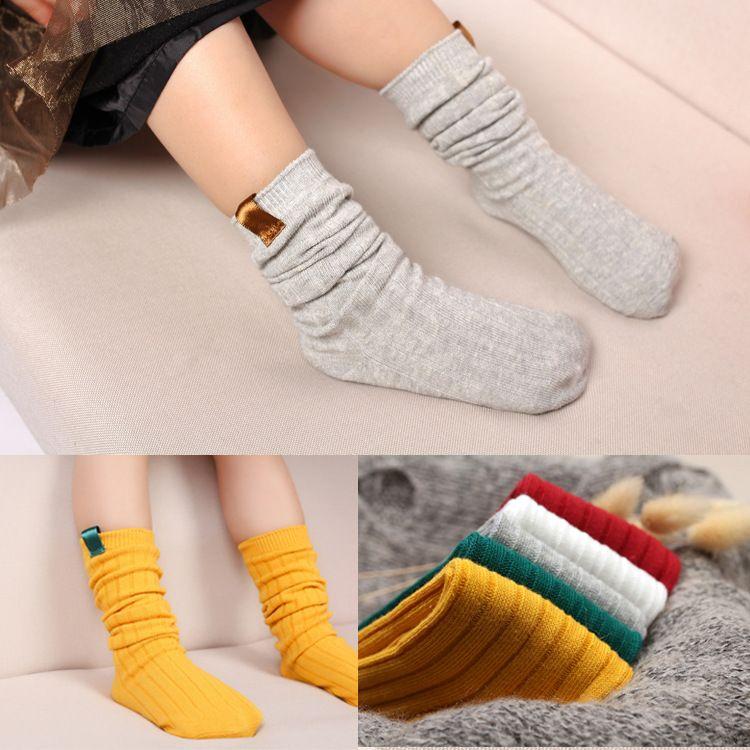 春秋季双针纯色缝标儿童堆堆袜 女童女童长袜 纯棉小孩高筒长筒袜