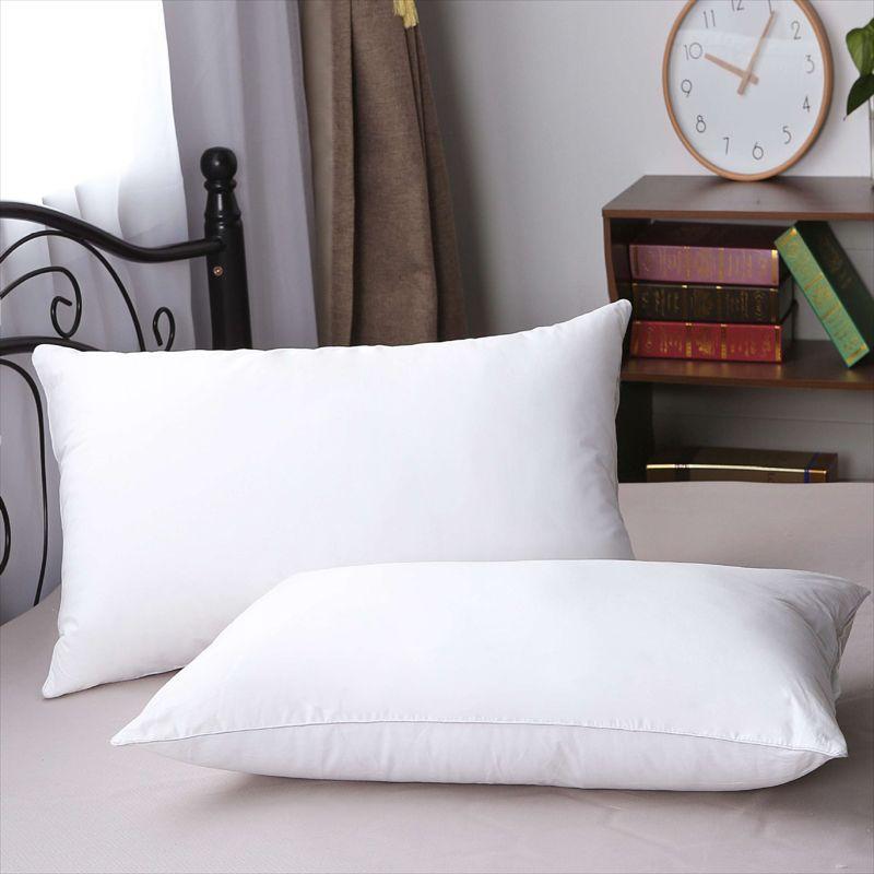 酒店嵌线防羽布枕头枕芯五星级宾馆酒店羽丝绒全棉枕芯枕头批发