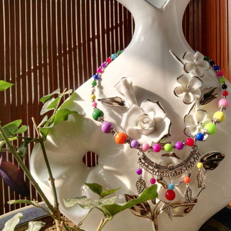 18新年七彩花色儿童彩珠吊坠项圈旅游景点热卖爆款纪念饰品