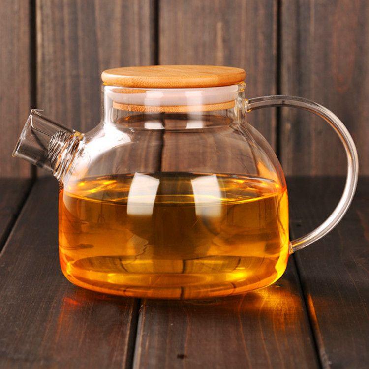 高硼硅耐热玻璃冷水壶 冷泡壶 大容量加厚玻璃竹盖壶 花茶壶防爆