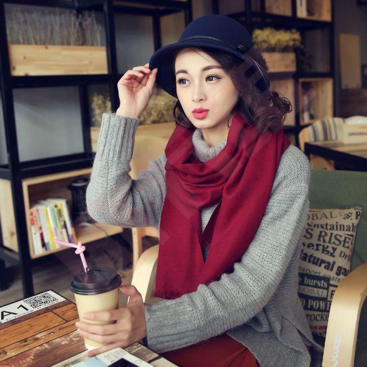 圍巾女冬季仿羊絨韓版純色百搭長款加厚披肩兩用保暖圍脖批發定制