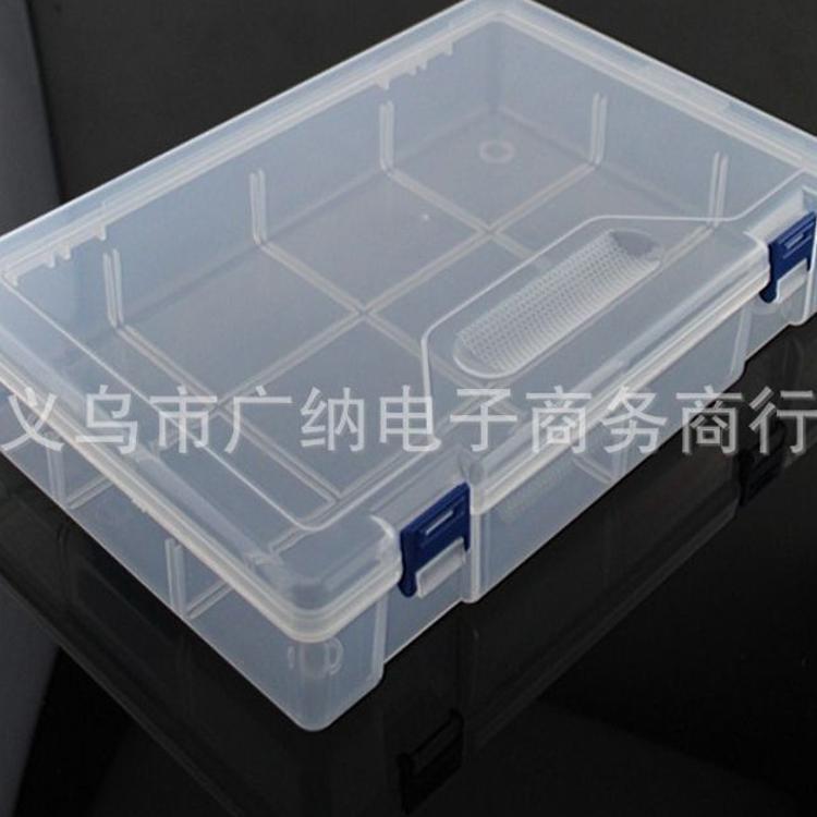 便攜大號10格雙扣空盒透明塑料盒塑料收納盒首飾盒漁具盒工具盒