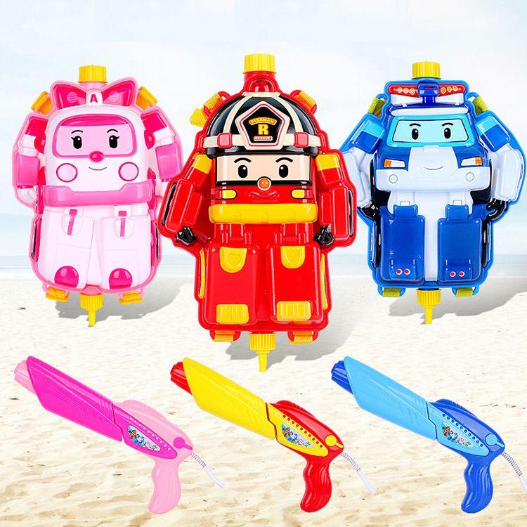 正版授权POLI背包水枪儿童抽拉水枪沙滩玩具枪气压水枪 一件代发