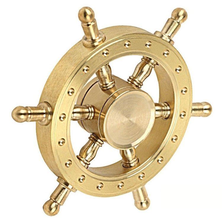 大船舵指尖陀螺 纯铜掌舵者老船长静音轴承 美国手指减压益智玩具