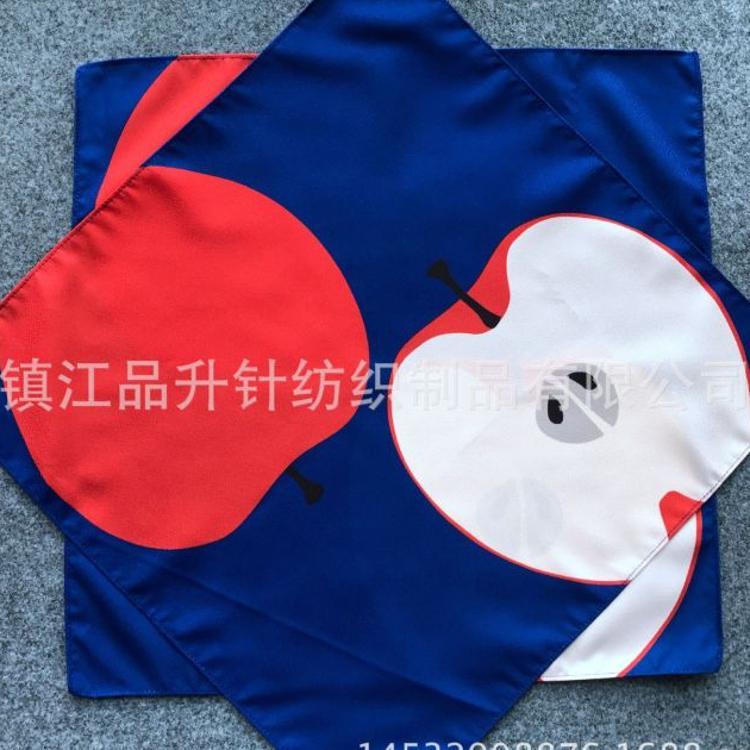 定制数码印花绉布包袱巾 包裹礼品 饭盒大方巾 工厂生产水果图案