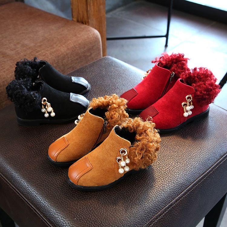 2017秋冬新款时尚加绒马丁靴男童女童靴子时尚靴子学生靴儿童短靴