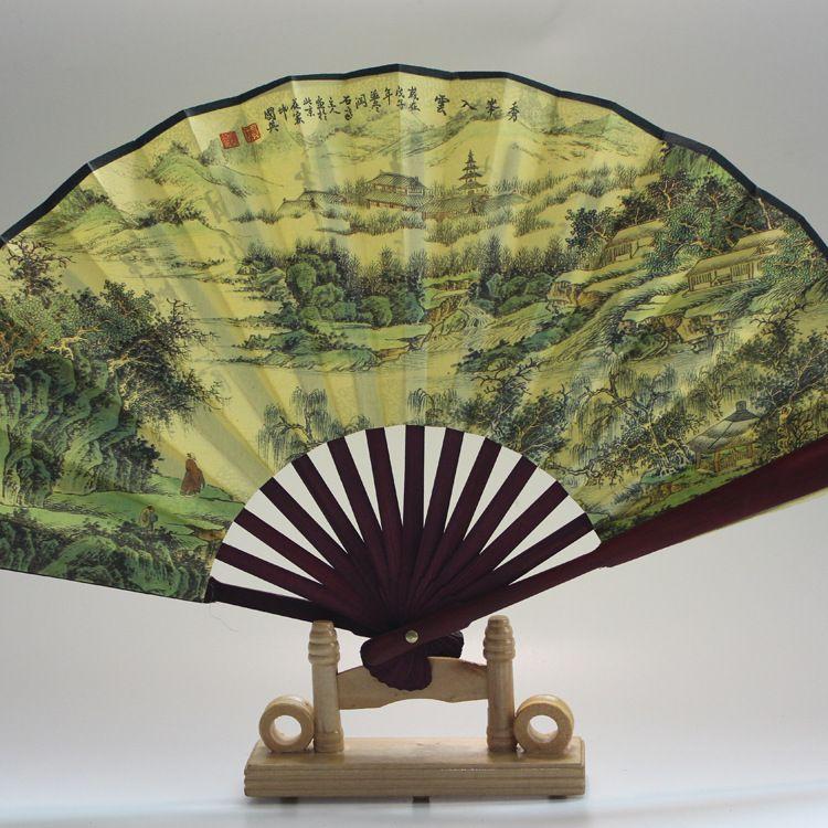中国风夏季10寸丝绸大绢扇子古风折扇传统手工艺礼品古典男折叠扇