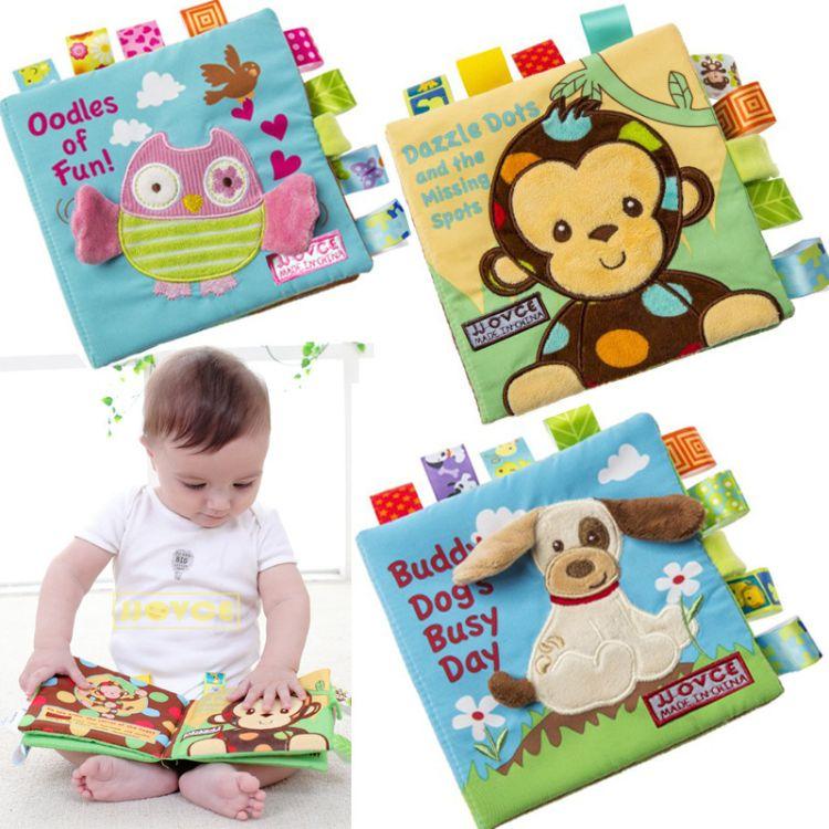 布书婴儿早教玩具动物刺绣布书幼儿启蒙玩具撕不烂立体布书