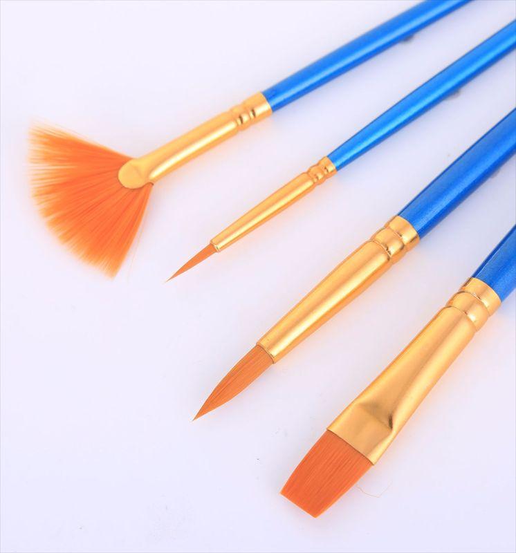促销扇形尼龙画笔铝管尖头画笔含勾线笔 珠光蓝尼龙画笔跨境