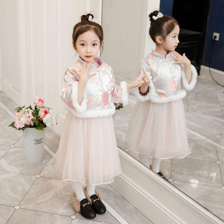 拜年服宝宝女童装中国风汉服过年喜庆新年衣服女童旗袍冬儿童唐装