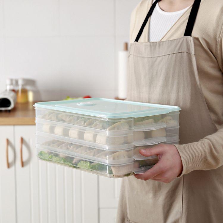 厂家直销pp饺子盒冰箱保鲜收纳冻饺子饭盒透明带盖速冻鸡蛋盒批发