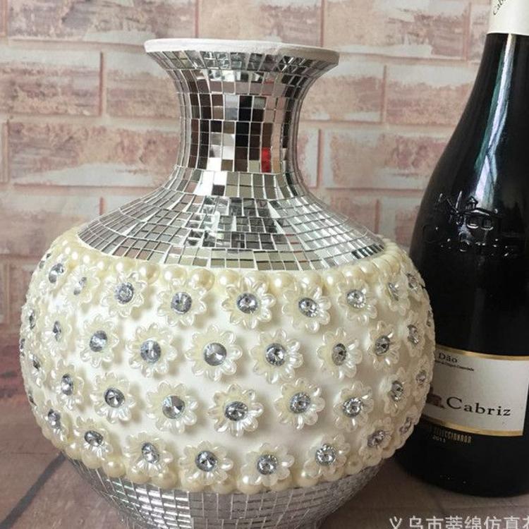 精美高档次花瓶-水钻珍珠欧美款花瓶-艺术品工艺品花瓶-直销