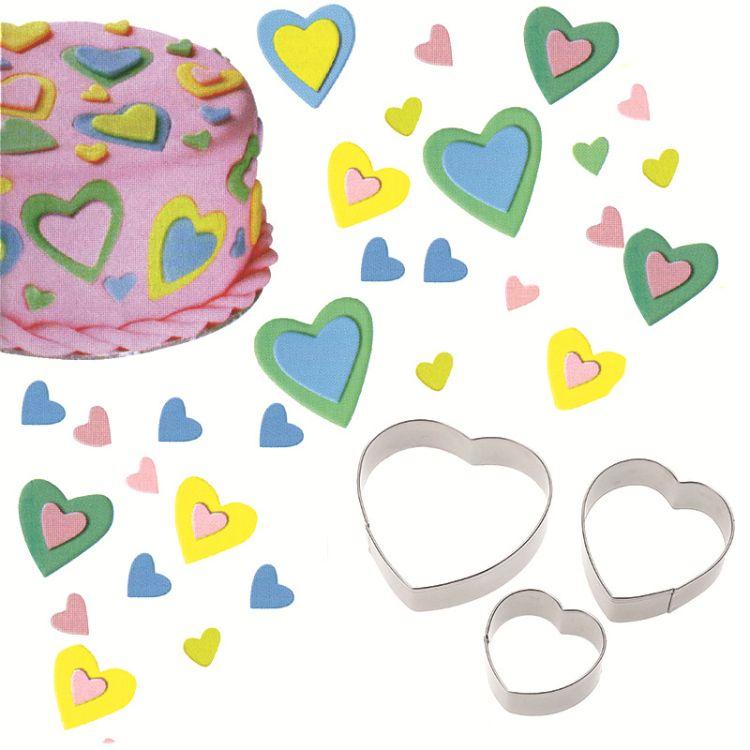 不锈钢饼干模具3件套装 烘焙工具 爱心形状翻糖蛋糕模A302