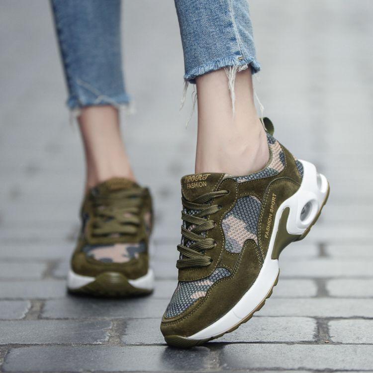 跨境夏季运动鞋军绿女鞋网布鞋军训男鞋跑步鞋气垫军装作训军迷鞋