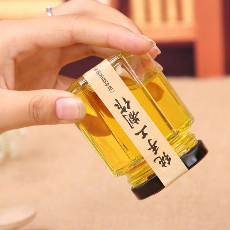 新款高档透明玻璃带盖密封蜂蜜瓶六角形无铅玻璃果酱瓶蜂蜜瓶