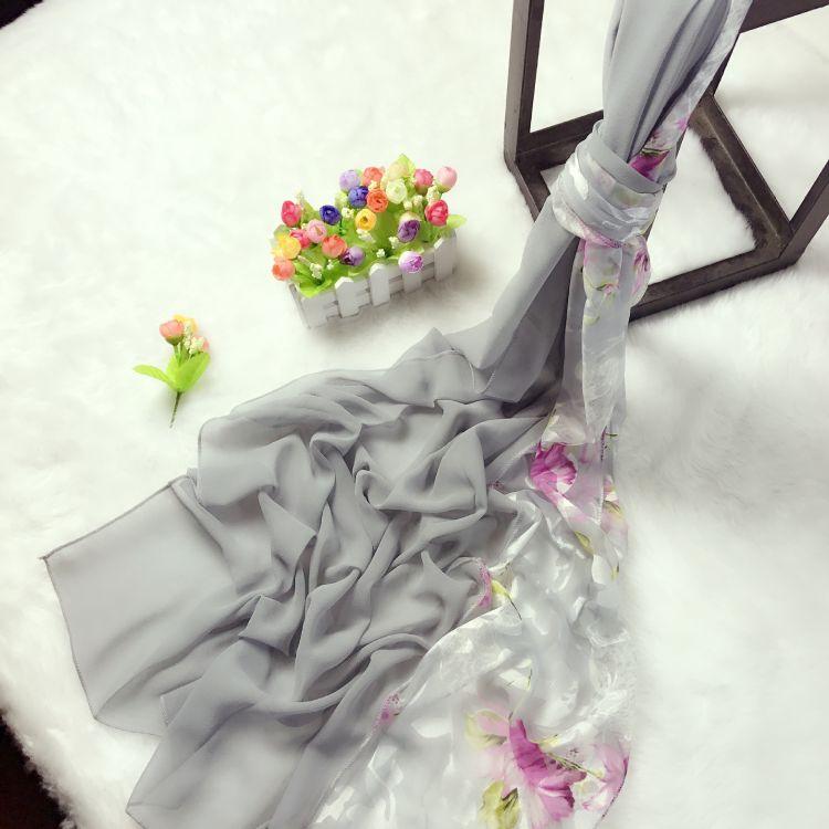 雪紡絲巾圍巾女春秋季2018裝飾民族風雙色百搭多功能拼接經典灰色