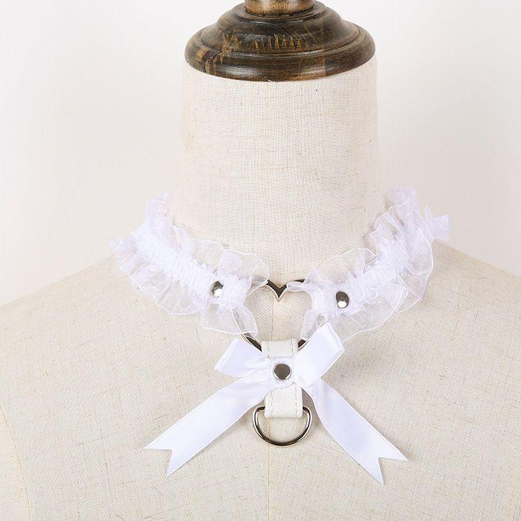柚梦夏 日系 软妹 cos 蕾丝 绑带 带铃铛 爱心扣 脖环 腿环 周边