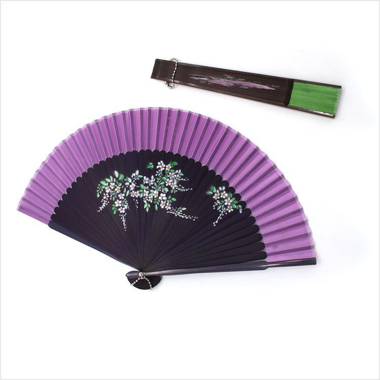 中国风女士折扇头青喷绘扇风景折叠扇子古典创意旗袍走秀表演扇子
