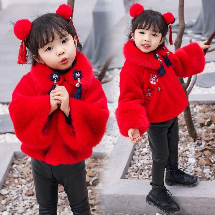宝宝唐装2018新款女童新年装儿童汉服中国风童装拜年服过年喜庆服