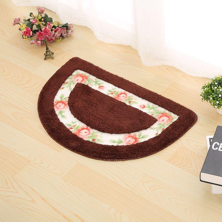 苏雅浴室垫卧室阳台田园玫瑰清新半圆地毯门口地垫浴室防滑垫批发