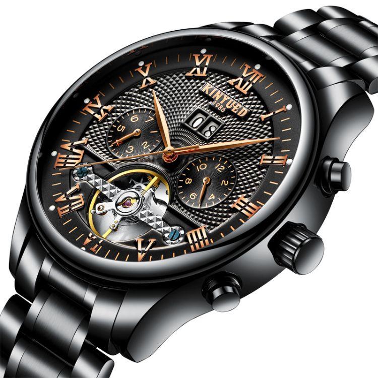正品KINYUED金悅達瑞士時尚男士不銹鋼陀飛輪全自動鏤空機械手表