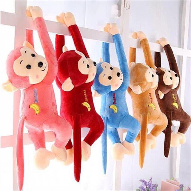香蕉猴毛绒玩具长臂吊猴趴趴猴公仔景区彩色猴子批发畅销款窗帘扣