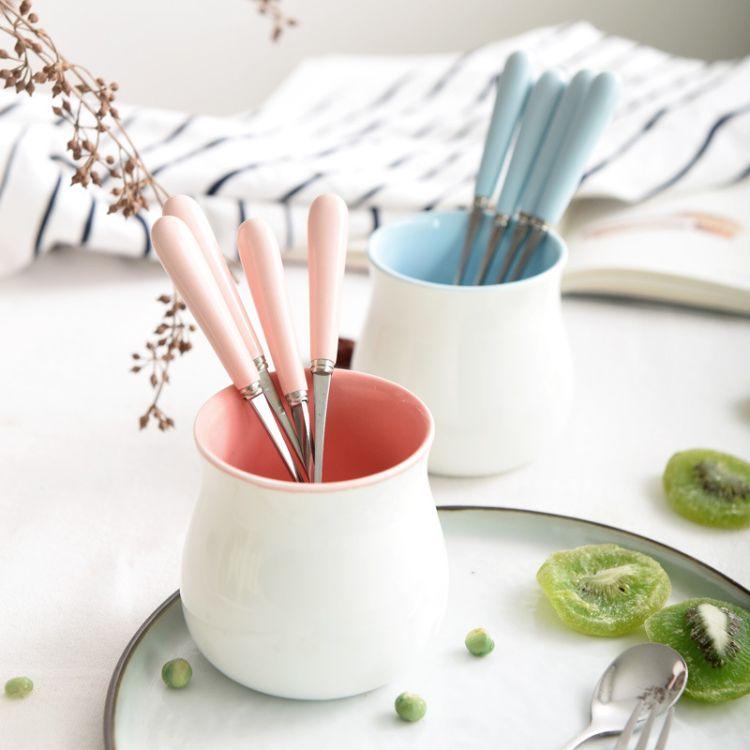 创意可爱水果叉陶瓷不锈钢叉子甜品点心餐具叉子水果签水果叉套装