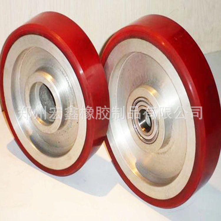 高品质聚氨酯轮 带轴聚氨酯滚轮 聚氨脂轴承包胶 橡胶轮 pu轮厂家