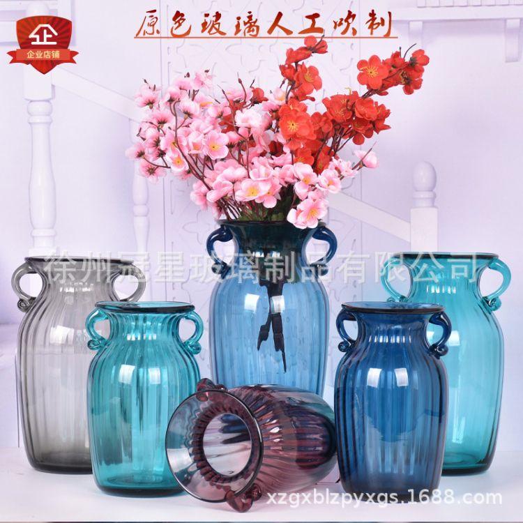 百搭简约玻璃花瓶插花水培小玻璃瓶透明花瓶彩色玻璃花瓶双耳花瓶