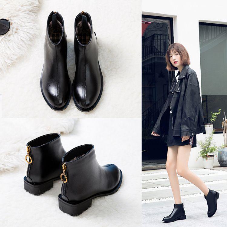平底女短靴休闲粗跟马丁靴2018秋冬季新款低跟学生韩版加绒女靴子