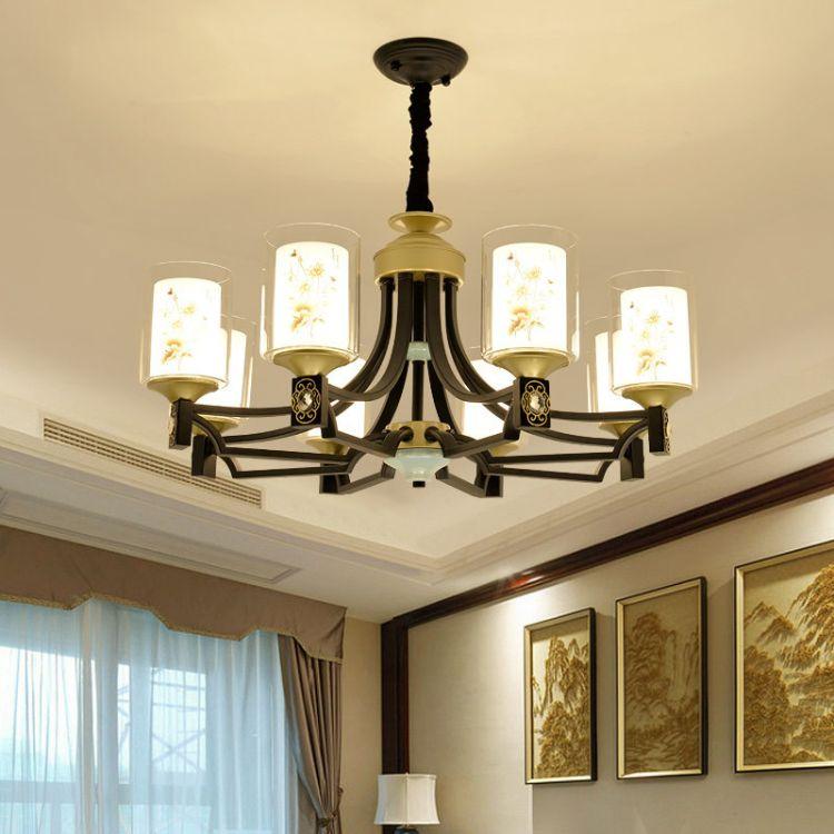 酒店工程吊灯新中式铁艺灯客厅灯餐厅饭厅灯现代大气led中式灯饰