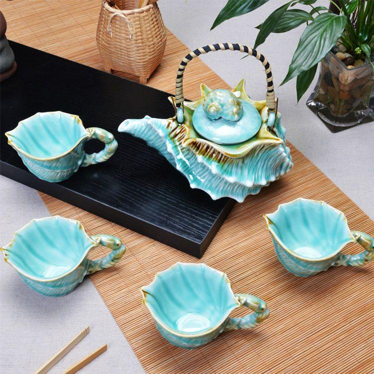 新款 厂家直销海洋系类之海螺茶具套装正品海洋海螺茶具 茶具