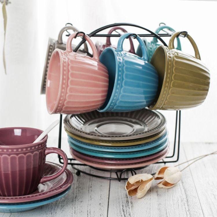 黑色铁架咖啡杯铁架收纳厨房用品收纳架立式杯碟挂架